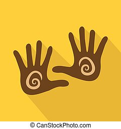 Hand icon, flat style