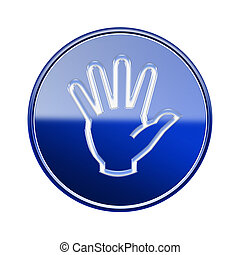 hand icon glossy blue, isolated on white background.