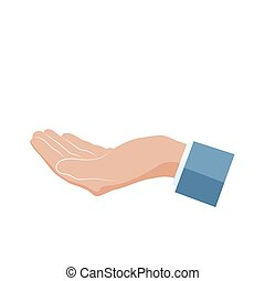 Hand icon. Human hand palm up. Vector illustration