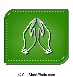 Hand icon illustration. Prayer symbol. Silver gradient line icon with dark green shadow at ecological patched green leaf.