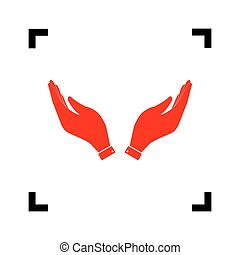 Hand icon illustration. Prayer symbol. Vector. Red icon inside black focus corners on white background. Isolated.