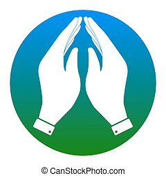 Hand icon illustration. Prayer symbol. Vector. White icon in bluish circle on white background. Isolated.