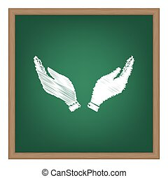 Hand icon illustration. Prayer symbol. White chalk effect on green school board.