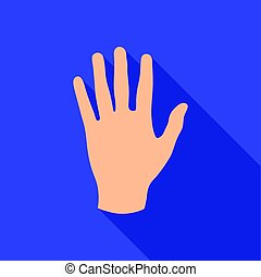 Hand icon in flat style isolated on white background. Part of body symbol stock vector illustration.