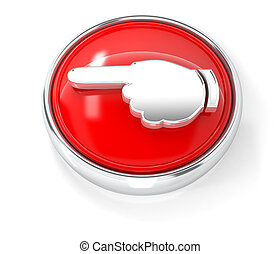 Hand icon on glossy red round button
