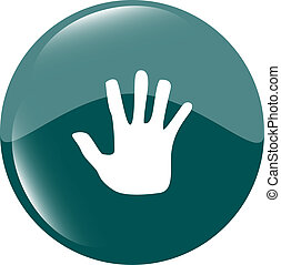 hand icon on green button