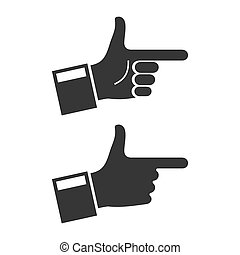 Hand Icon Set on White Background. Vector
