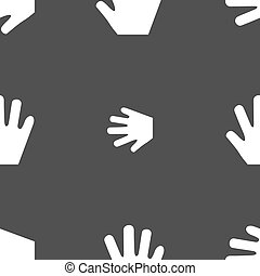 Hand icon sign. Seamless pattern on a gray background. Vector