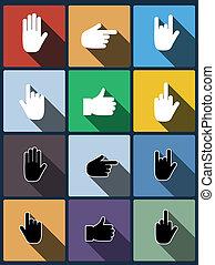 Hand icon. Vector set.