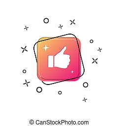 Hand icon with thumb raised above. Purple square button. Flat design