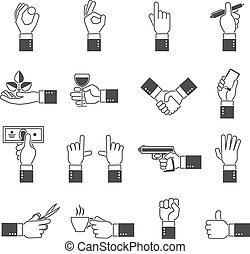 Hand Icons Black Set