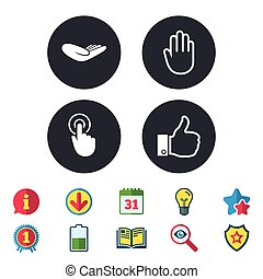 Hand icons. Like thumb up and click here symbols.