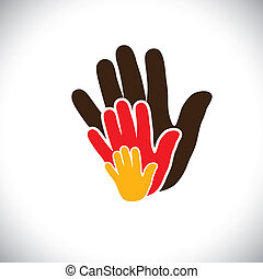 hand icons of parent & child showing concept of family- vector graphic. This illustration consists of colorful human hands of father, mother & kid showing parental love, bonding & close relationship