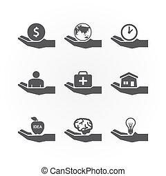 hand icons saving concept design vector.