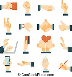 Hand icons set flat - Hand gestures flat icons set...