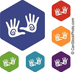 Hand icons vector hexahedron