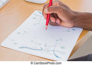 hand, iets, potlood tekenen, rood