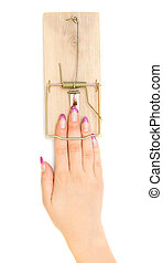 Hand in a mousetrap.