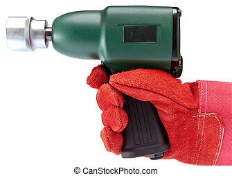 hand in a working glove holds air impact wrench