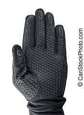 Hand in black glove isolated with clipping path