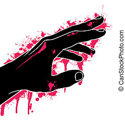 Hand in blood, abstraction, vector illustration