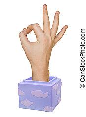 Hand in box (okay sign)