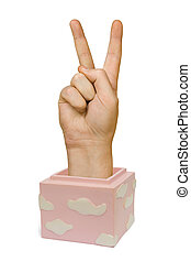 Hand in box (victory sign)