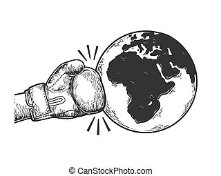 Hand in boxing glove hits Earth planet engraving vector illustration. Apocalyptic war metaphor. Scratch board style imitation. Black and white hand drawn image.