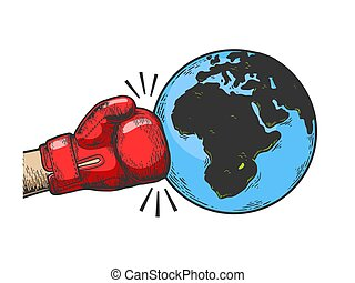 Hand in boxing glove hits Earth planet engraving vector...