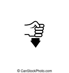 Hand in Fist Pressing Down Flat Vector Icon
