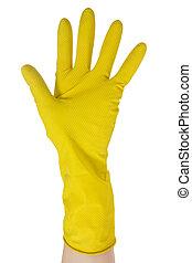hand, in, gelber , handschuh