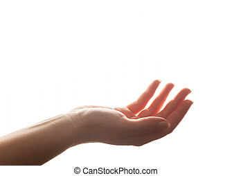 Hand in gesture of holding, giving. Strong backlight, isolated on white