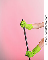 hand in glove girl Woman housewife cleaner