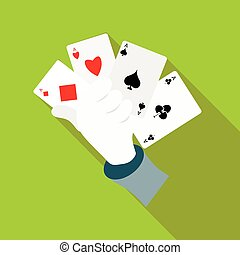 Hand in glove holding four playing cards icon