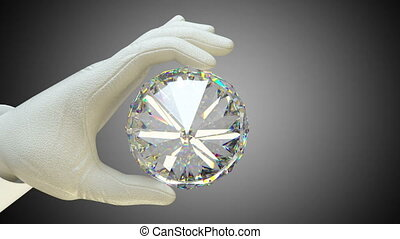 Hand in glove holding huge gemstone or diamond with alpha...
