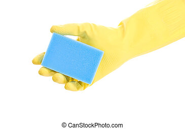 hand in glove with sponge
