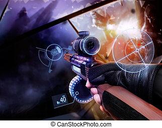 Hand in gloves holding machine-gun. - First person view hand...
