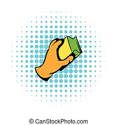 Hand in gloves with rag icon in comics style on a white background