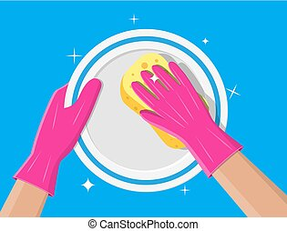 Hand in gloves with sponge wash plate. Cleaning service....