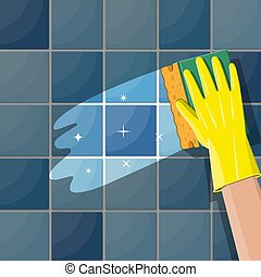 Hand in gloves with sponge wash wall in bathroom or kitchen....
