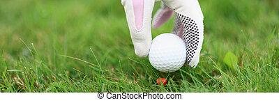 Hand in golf glove puts ball on golf tee