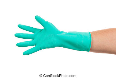 Hand in green glove.