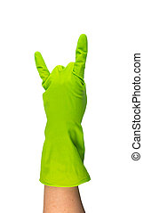 Hand in green protective rubber glove isolated on white