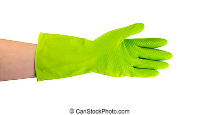 Hand in green protective rubber glove isolated