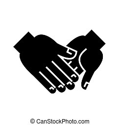 hand in hand icon, vector illustration, black sign on isolated background