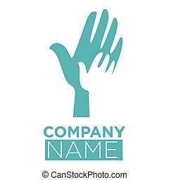 Hand in hands template vector icon dove bird symbol
