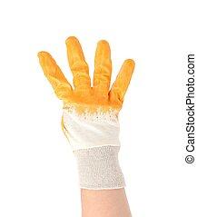hand, in, handschoen, het tonen, vier, fingers.