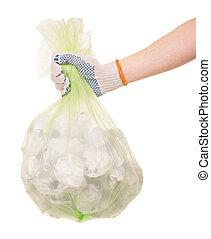 hand, in, handschoen, vasthouden, een, zak van, restafval, op wit