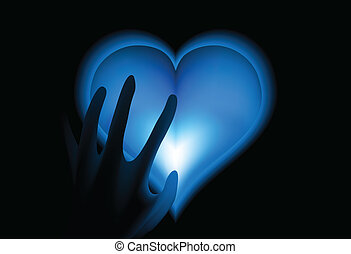 Hand in heat from blue heart cold. Vector