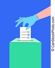 Hand in medical glove puts ballot paper into box